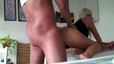 <p>Blonde babe is penetrated at home</p>