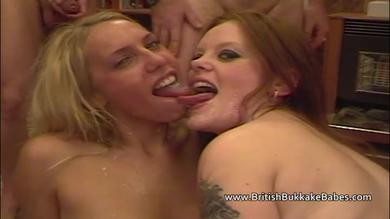 Sexy blonde and horny redhead  gives deepthroating blowjob for Bukkake