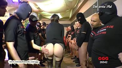 Naughty german brunette with glasses has hardcore bukkake orgy