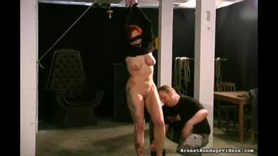 Tied babe for a BDSM scene