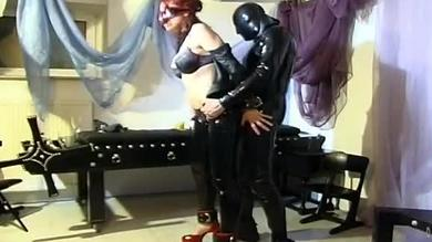 Redhead in latex will be drilled hard