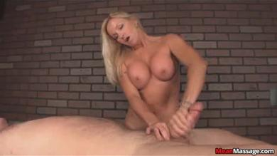 Big titty blonde masseuse giving a guy a intense handjob