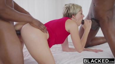 Hot blonde babe Makenna Blue gets her cunt fucked by two huge black cocks