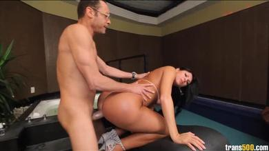 Hot Latina tranny gives a blow job, then gets stuffed