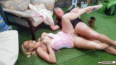 Blonde German newbie cheats on husband in mature amateur fuck with old guy