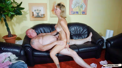 Blonde German granny wears glasses while she cheats with a blowjob and fuck