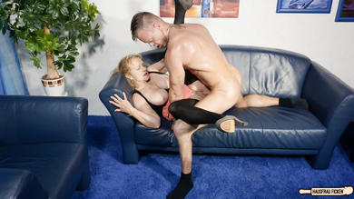 Busty blonde German granny cheats with younger guy and gets cum on tits