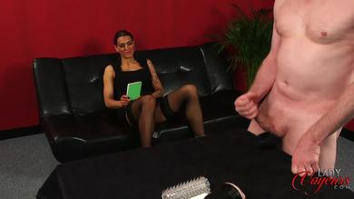 <p>Lady Voyeurs - Sexy brunette watches Man testing sex toys out</p>