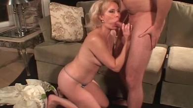 <p>Blond hairy granny rides a huge meaty member deeply</p>