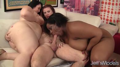 Four fat chicks fool around with hard cock