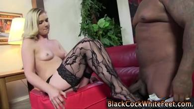 Fucking the feet dressed in stockings