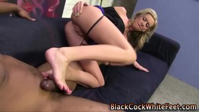 He wants her feet on his huge cock