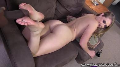 Kagney Linn Karter gets her feet covered in cum