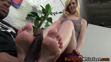 Sweet blondie having her feet toyed with