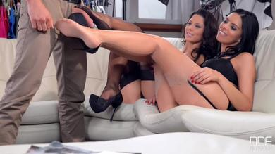 Horny Model  in stockings loves Footjob for getting Cum covered feet