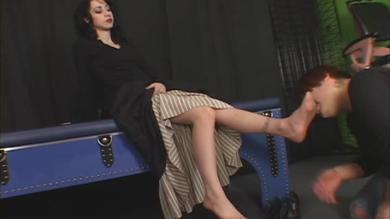 Mina Meow's feet in the kinky dude's mouth
