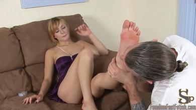 Lovely pretty girl Missy gives her feet for him to massage