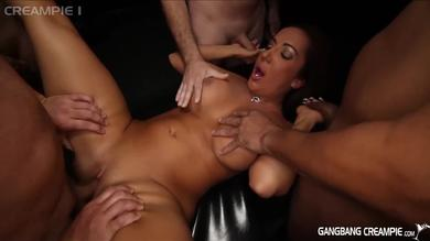 Horny booby slut Richelle Ryan gets banged hard in a gangbang