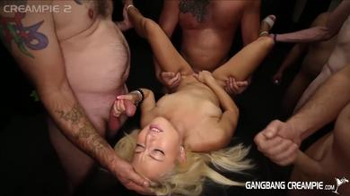 Valerie White gets her pussy filled by Creampie in Gangbang