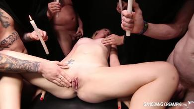 Hot blonde slut Payton gets gangbanged