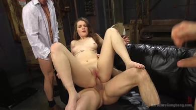 Tied brunette babe Nora Riley takes a Dp rough pounding in a gangbang
