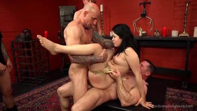 Bootyful brunette slut Yhivi gets fucked roughly in gangbang session