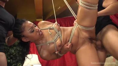 Slutty ebony chick Yasmine gets her all holes fucked roughly in a gangbang