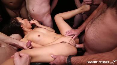 Gangbang Creampie - huge orgy for petite Mila Jade means ass fucking