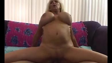 Busty mature granny in reverse cowgirl pose