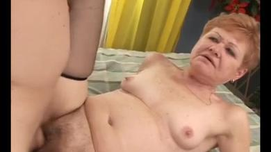 Nasty old lady gets screwed between her legs.