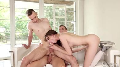 <p>Couples that are beautiful enjoys strong 3some fuck session</p>