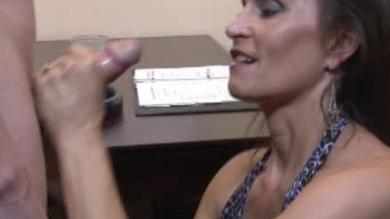 <p>Mature milf grabs that meaty member for a nice Handjob</p>