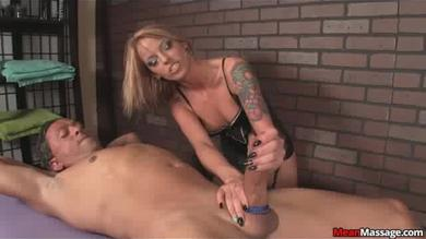 <p>Brunette gives a Handjob into a dude</p>