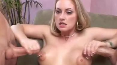 <p>Blonde GF does good handjob for two penises</p>