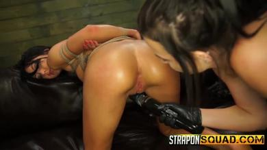 <p>StrapOn Squad: lesbian domination with slave girlfriend being tied and stuffed</p>