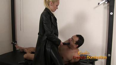 <p>Blonde sultry mistress makes BF suck on fingers and strapon his booty</p>