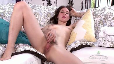 <p>Horny housewife Rose Vermillion teasing her wet hairy twat</p>