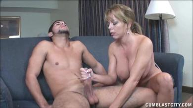 Mom helps son cum all over the place