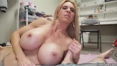 Busty mom milking her step son's monster dick