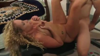 Stunning curly blonde amateur wife loves hard pussy pounding at home