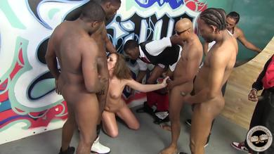 Sexy whore humiliated by black dudes
