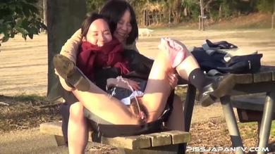 Piss Japan TV -  School girls give amazing pissing performance outdoors