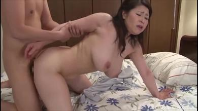 Thick Japanese mature brunette slut gets fucked in doggy style