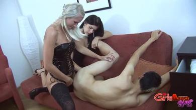 <p>Abuse Guys - a blonde and a brunette stuff a slave BF's booty</p>