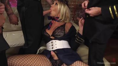 <p>Blonde tgal Aubrey Kate gets her booty and mouth penetrated at a Gangbang</p>