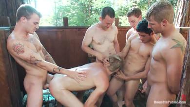 <p>Stud Logan gets his booty and mouth penetrated in gangbang in a Camground</p>