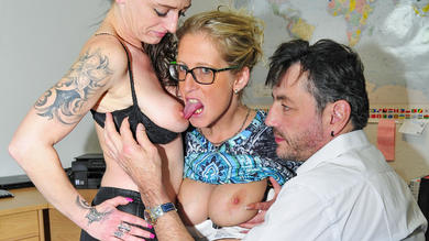 <p>Swinger splurge in FFM threeway with tattooed sluts that are German in their 40s</p>