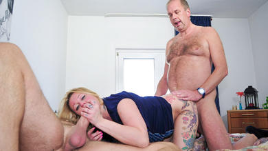 <p>Blonde skank Justyna C. getting double cumshot on her titties</p>