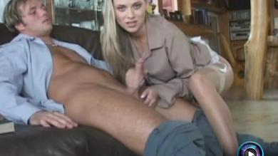 <p>Sexy Victoria Swinger fingers her shaved vagina while giving Handjob</p>