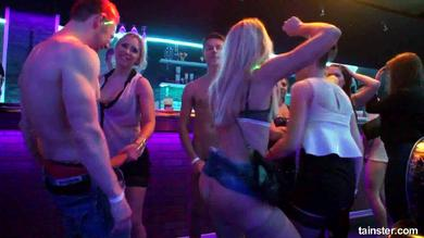 <p>Drunk Sex Orgy features shaved vagina drilling and rod swallowing in club</p>